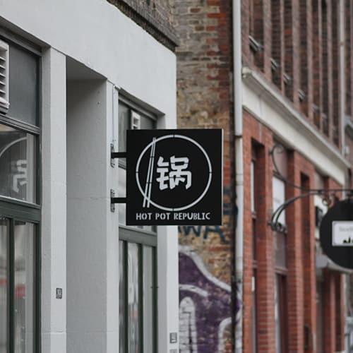 Vingeskilt med lys til kinesisk restaurant