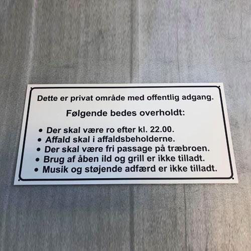 Information skilte, privat område