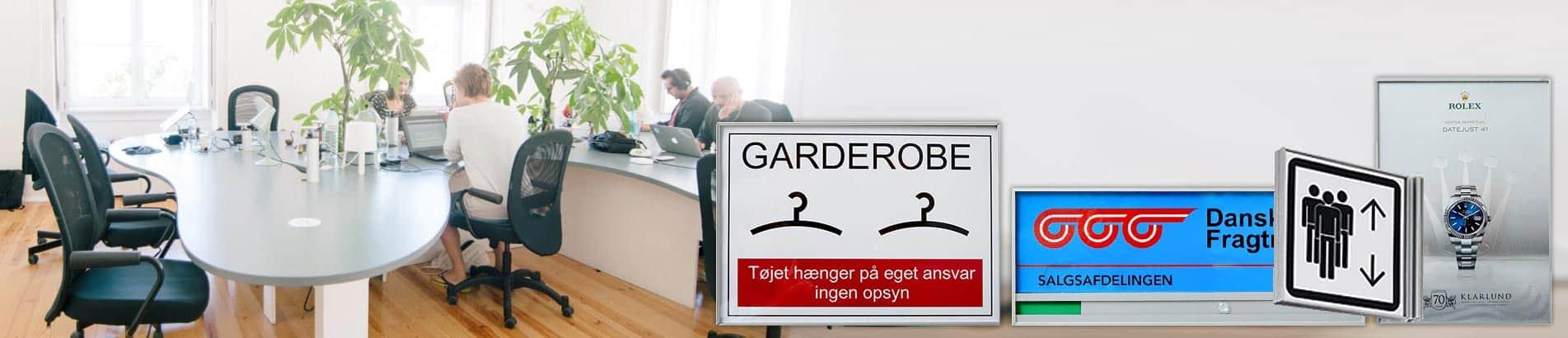 Skilte til kontor indendørs