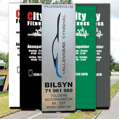 Pylonskilte med sølv, sort, hvid, grøn eller grå baggrund